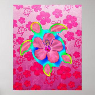Tortuga e hibisco tropicales de Honu Impresiones