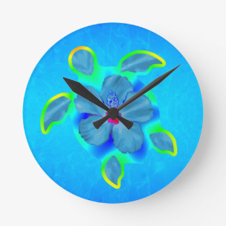 Tortuga e hibisco tropicales de Honu Reloj Redondo Mediano
