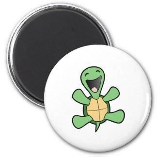 Tortuga feliz imán redondo 5 cm