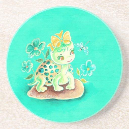 Tortuga femenina posavasos diseño