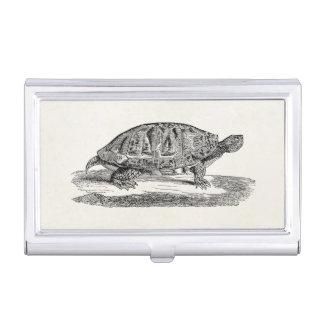 Tortuga hinchada vintage de la tortuga acuática - caja de tarjetas de negocios