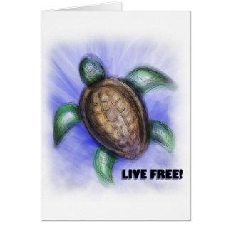 Tortuga libre viva tarjeta de felicitación