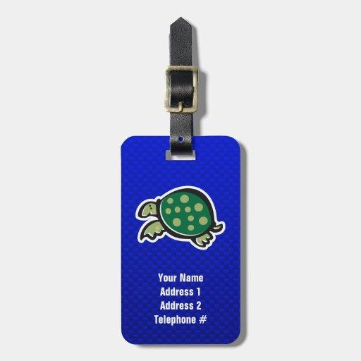 Tortuga linda; Azul Etiquetas Bolsa