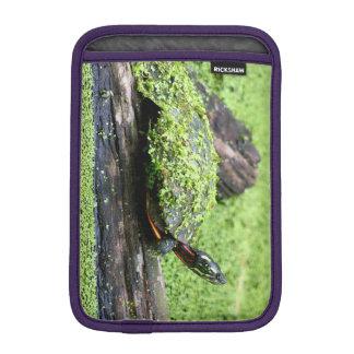 Tortuga linda cubierta en verde divirtiéndose funda de iPad mini