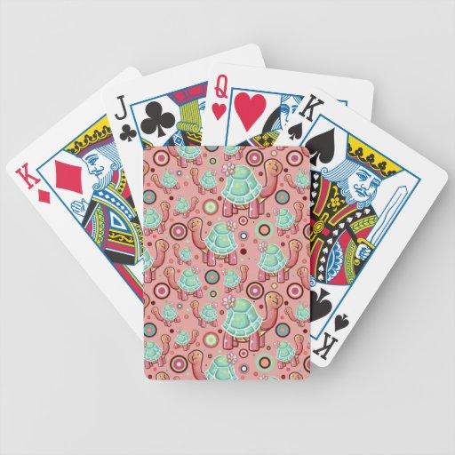 Tortuga linda de la flor del dibujo animado baraja de cartas