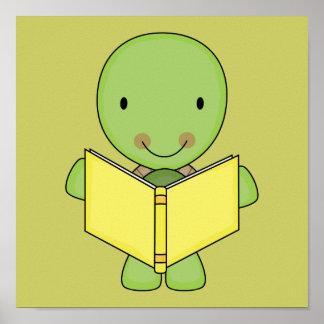tortuga linda de la lectura póster