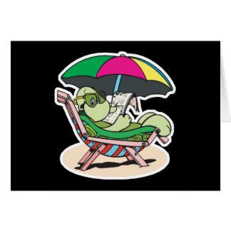 tortuga linda de la playa tarjeta de felicitación