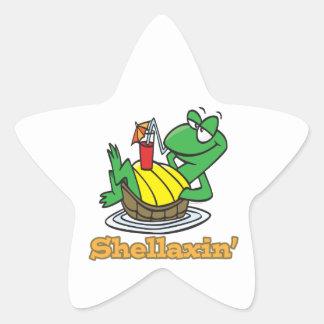 tortuga linda de relajación desapasible del pegatina en forma de estrella