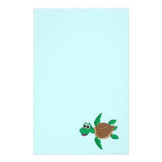 Tortuga linda del dibujo animado papeleria personalizada