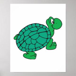 tortuga linda del dibujo animado póster