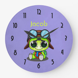 Tortuga linda personalizada del dibujo animado en reloj redondo grande
