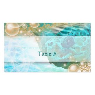 """Tortuga """"número del boda del tema de la playa de tarjetas de visita"""