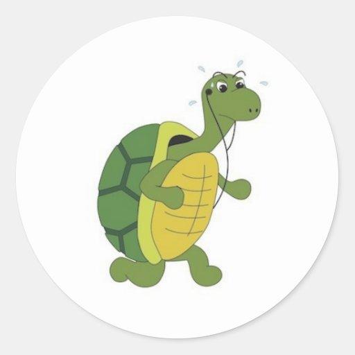 tortuga obstinada etiquetas redondas