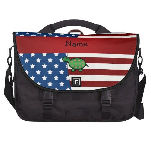Tortuga patriótica conocida personalizada bolsas de portatil