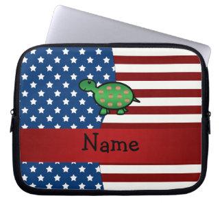 Tortuga patriótica conocida personalizada fundas portátiles
