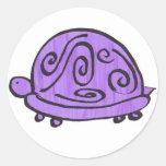 Tortuga púrpura pegatina redonda