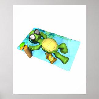 tortuga que broncea del sol lindo póster
