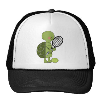 Tortuga que juega a tenis gorras