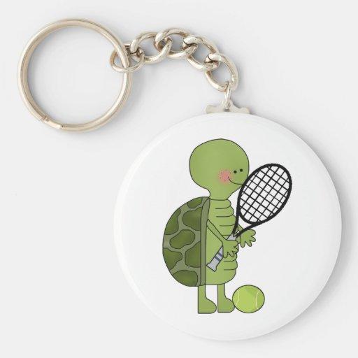 Tortuga que juega a tenis llavero