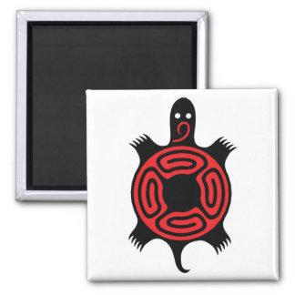 Tortuga roja y negra imán cuadrado