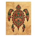 Tortuga roja y verde del vintage del Haida del alc Postales