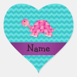 Tortuga rosada conocida personalizada pegatina de corazón