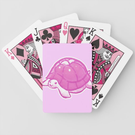 Tortuga rosada linda barajas de cartas