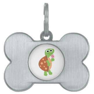Tortuga sonriente placas de nombre de mascota