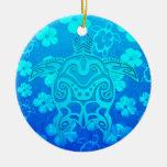 Tortuga tribal azul adorno de navidad