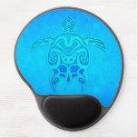 Tortuga tribal azul alfombrilla de raton con gel
