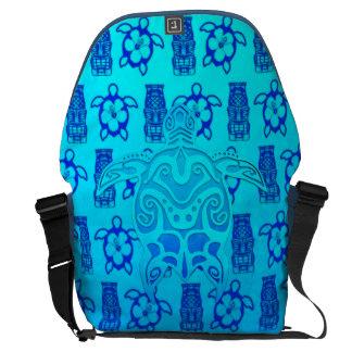 Tortuga tribal azul bolsa de mensajería