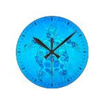 Tortuga tribal azul de Honu Reloj De Pared