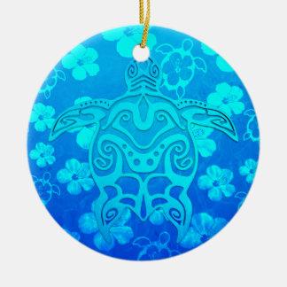 Tortuga tribal azul adorno redondo de cerámica