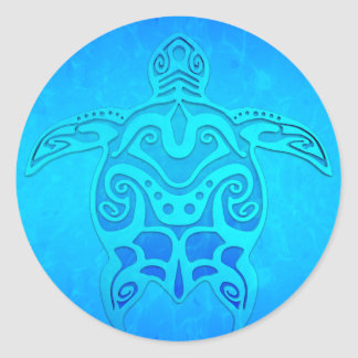 Tortuga tribal azul etiqueta redonda