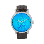 Tortuga tribal azul reloj de mano