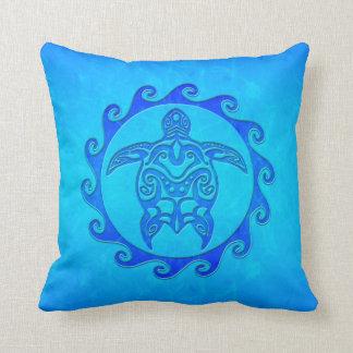 Tortuga tribal azul Sun Almohada