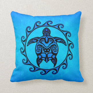 Tortuga tribal azul Sun Almohadas