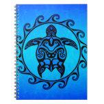 Tortuga tribal azul Sun Libreta Espiral