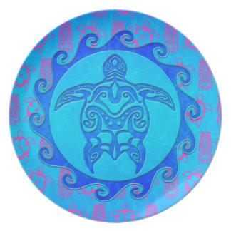Tortuga tribal azul Sun Plato De Comida