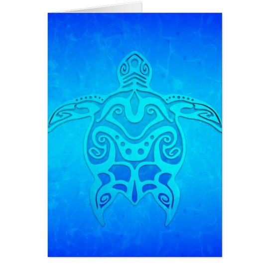 Tortuga tribal azul tarjeta de felicitación