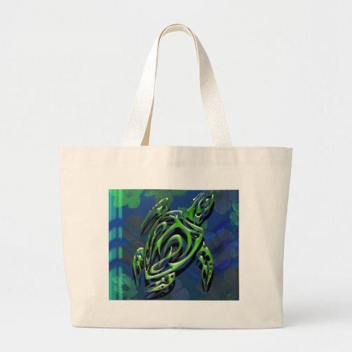Tortuga tribal bolsa de tela grande