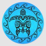 Tortuga tribal negra pegatina redonda