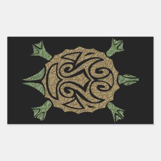 Tortuga tribal pegatina rectangular