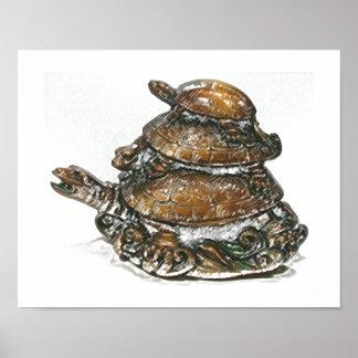 Tortuga triple de Feng Shui - oro Póster