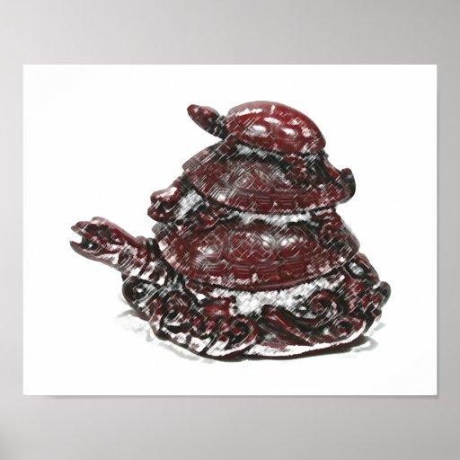 Tortuga triple de Feng Shui - rojo Póster
