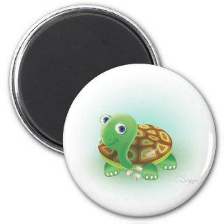 Tortuga verde de los dibujos animados imán redondo 5 cm