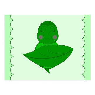 Tortuga verde el dormir tarjeta postal