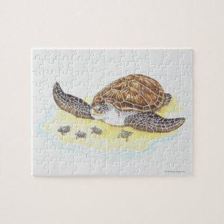 Tortuga y bebés de mar puzzles con fotos