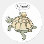 ¡Tortuga y caracol del dibujo animado Whee! Pegatina Redonda