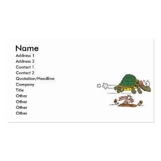tortuga y el dibujo animado divertido de la fábula tarjetas de visita